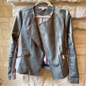 Via Spiga Grey Leather Ostrich Jacket